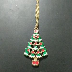 Red Green Enamel Christmas Tree Pendant Necklace